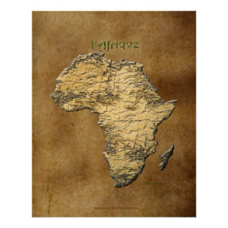 3D-look Map of Africa on Parchment-effect Poster