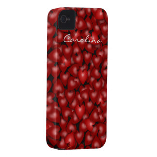 3D Look Red Hearts Valentine Custom Name Cover