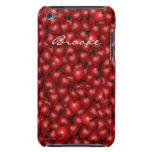3D Look Red Hearts Valentine Custom Name Cover Barely There iPod Case