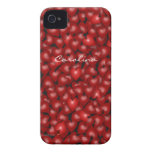 3D Look Red Hearts Valentine Custom Name Cover iPhone 4 Case-Mate Case