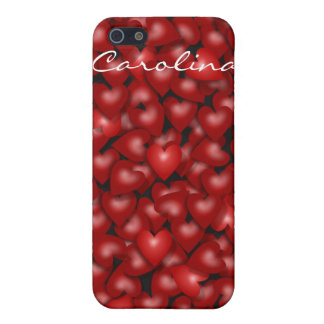 3D Look Red Hearts Valentine Custom Name Cover iPhone 5 Covers