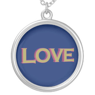 3D Love in gold over sapphire Silver Plated Necklace