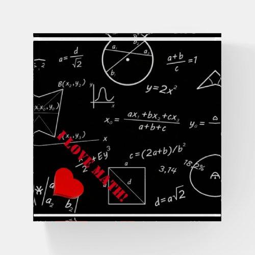 3D love math on math blackboard Paperweight