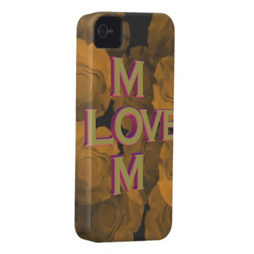 3D LOVE Mom in gold over peach chroma rose blooms Case-Mate iPhone 4 Case