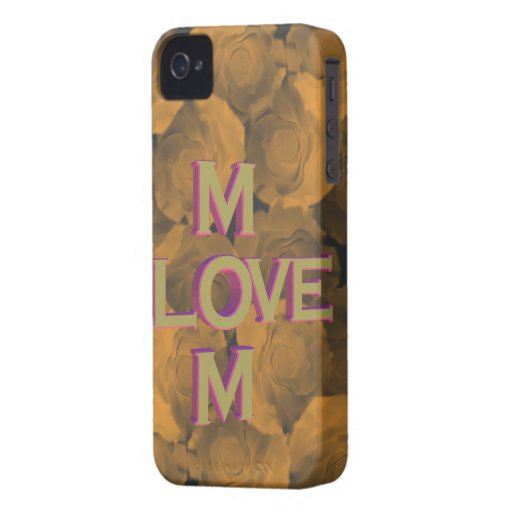 3D LOVE Mom in gold over peach chroma rose blooms iPhone 4 Case-Mate Case