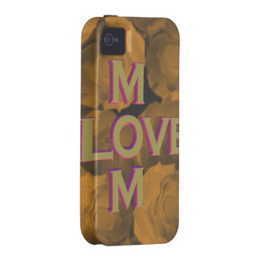 3D LOVE Mom in gold over peach chroma rose blooms Case-Mate iPhone 4 Cases