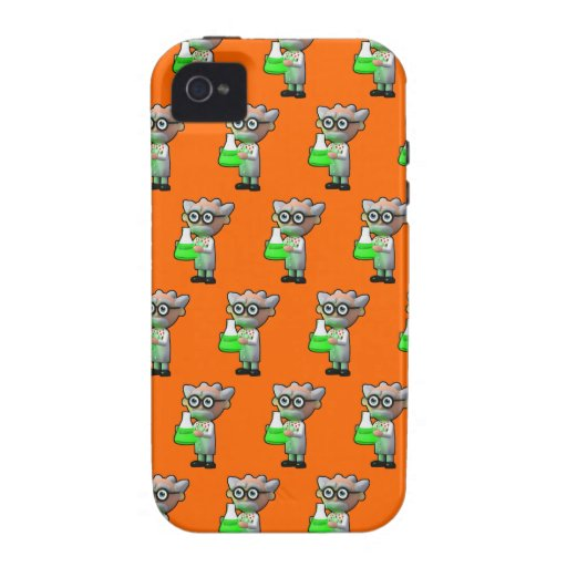 3d mad scientist flask (Editable BG Color!) Case-Mate iPhone 4 Cover