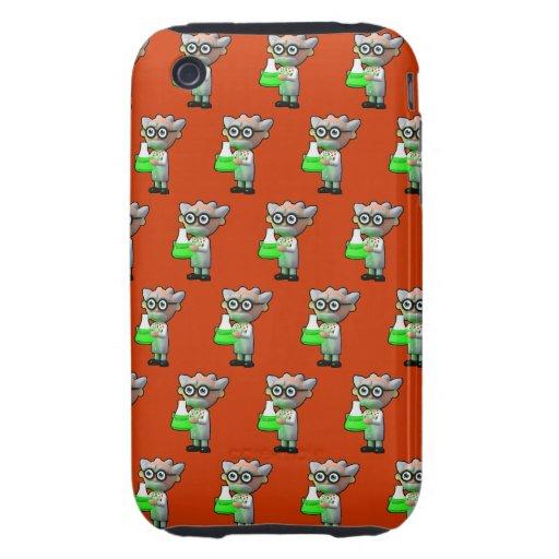 3d mad scientist flask (Editable BG Color!) iPhone 3 Tough Cases