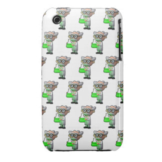 3d mad scientist flask (Editable BG Color!) iPhone 3 Cover
