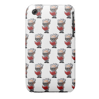 3d mad scientist reading (Editable BG Color!) iPhone 3 Cover