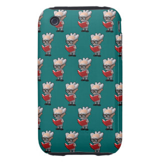 3d mad scientist reading (Editable BG Color!) Tough iPhone 3 Cover