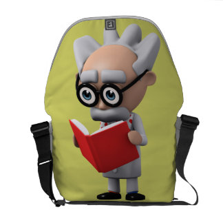 3d mad scientist reading (Editable) Courier Bag