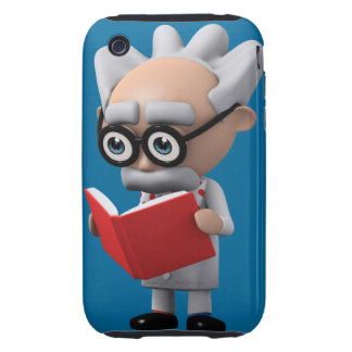 3d mad scientist reading (Editable) iPhone 3 Tough Cover