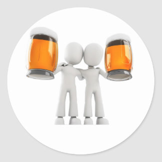 3d man and beer classic round sticker
