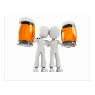 3d man and beer postcard