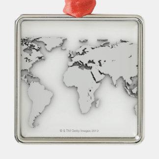 3D mapa del mundo, imagen generada por ordenador Adorno Navideño Cuadrado De Metal