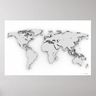 3D mapa del mundo, imagen generada por ordenador Posters