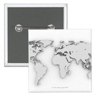 3D mapa del mundo, imagen generada por ordenador Pin Cuadrada 5 Cm
