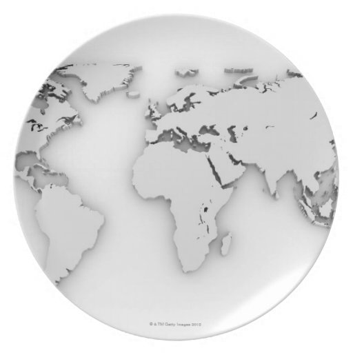 3D mapa del mundo, imagen generada por ordenador Plato Para Fiesta