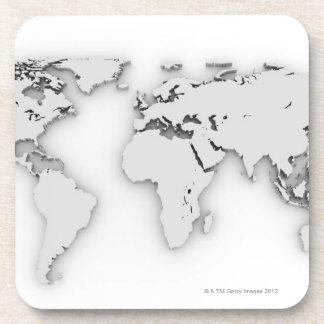 3D mapa del mundo, imagen generada por ordenador Posavasos De Bebidas