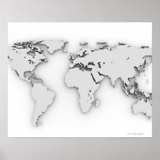 3D mapa del mundo, imagen generada por ordenador Póster