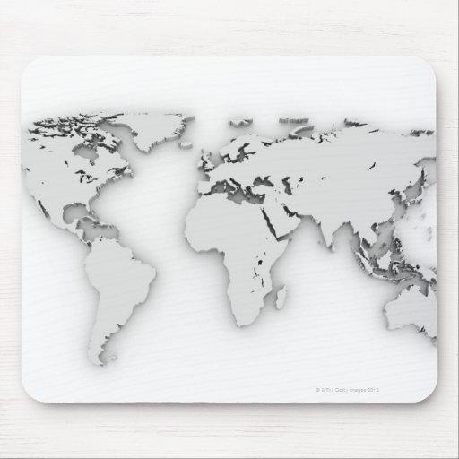 3D mapa del mundo, imagen generada por ordenador Alfombrillas De Ratones