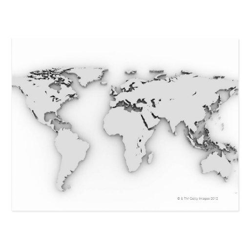 3D mapa del mundo, imagen generada por ordenador Tarjeta Postal