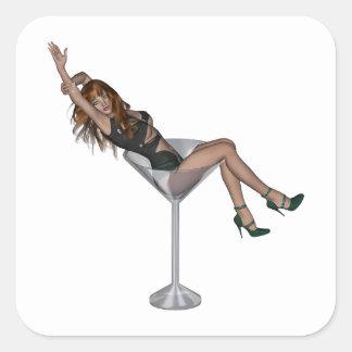 3D Martini Lady 1 Square Sticker