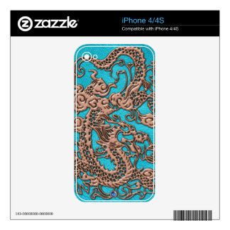 3D Metallic Dragon Leather Texture phone skins Decal For The iPhone 4