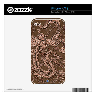 3D Metallic Dragon Leather Texture phone skins Skin For The iPhone 4