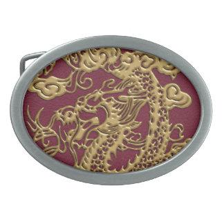 3D Metallic Dragons Leather Texture Belt Buckle