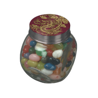 3D Metallic Dragons Leather Texture Jelly Belly Candy Jar