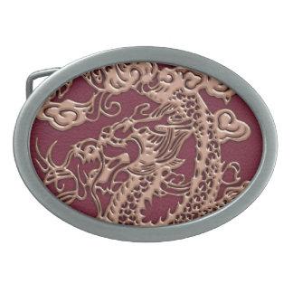 3D Metallic Dragons Leather Texture Oval Belt Buckle