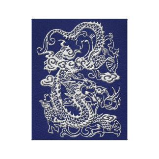 3D Metallic Dragons on Royal Blue Leather Print