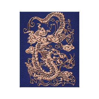 3D Metallic Dragons on royal blue Leather Print