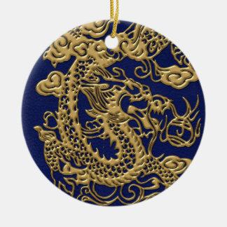 3D Metallic Dragons on Royal Blue Leather Print Ceramic Ornament