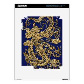 3D Metallic Dragons on royal blue Leather Print Decal For iPad 3