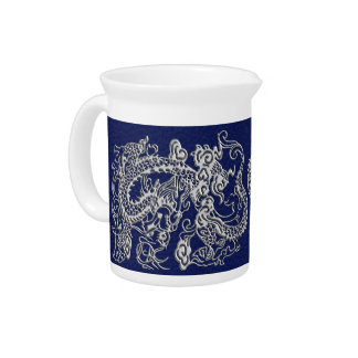 3D Metallic Dragons on Royal Blue Leather Print Drink Pitcher