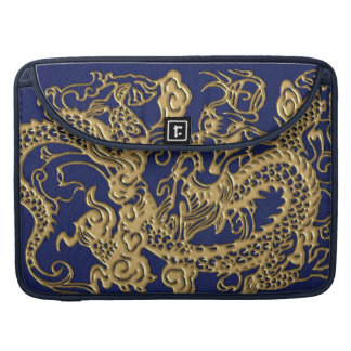 3D Metallic Dragons on royal blue Leather Print MacBook Pro Sleeve