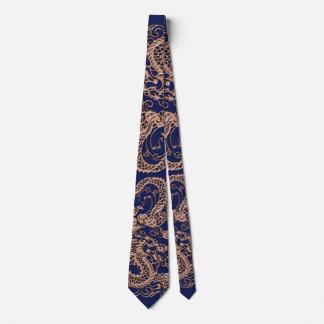 3D Metallic Dragons on royal blue Leather Print Neck Tie