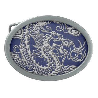 3D Metallic Dragons on royal blue Leather Print Oval Belt Buckle