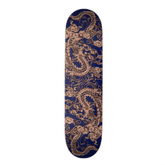 3D Metallic Dragons on Royal Blue Leather Print Skateboard