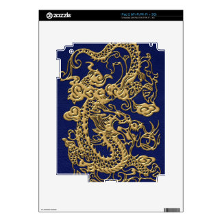 3D Metallic Dragons on Royal Blue Leather Print Skins For iPad 2