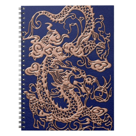 3D Metallic Dragons on royal blue Leather Print Spiral Notebook