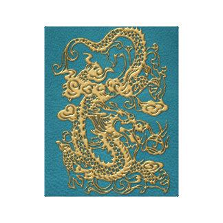 3D Metallic Dragons on Teal Leather Print