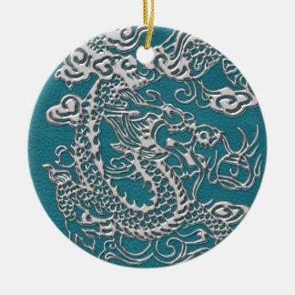 3D Metallic Dragons on Teal Leather Print Ceramic Ornament