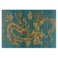 3D Metallic Dragons on Teal Leather Print Cutting Board (<em>$39.05</em>)