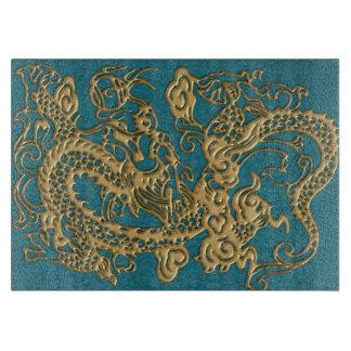 3D Metallic Dragons on Teal Leather Print Cutting Board