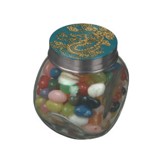 3D Metallic Dragons on Teal Leather Print Jelly Belly Candy Jars