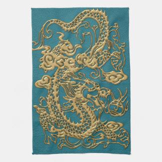 3D Metallic Dragons on Teal Leather Print Kitchen Towel